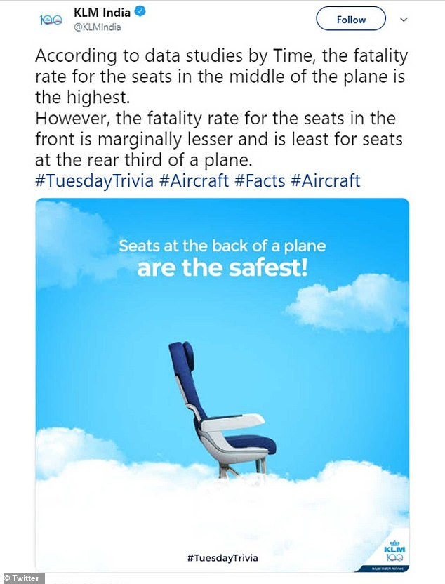 KLM airlines forced to apologise after it revealed where in a plane you are most likely to die if it crashes