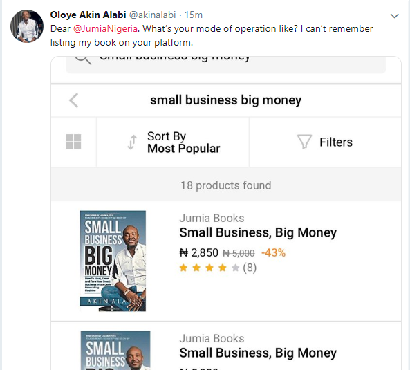 Akin Alabi calls out Jumia Nigeria for listing his book for sale on their platform without his approval