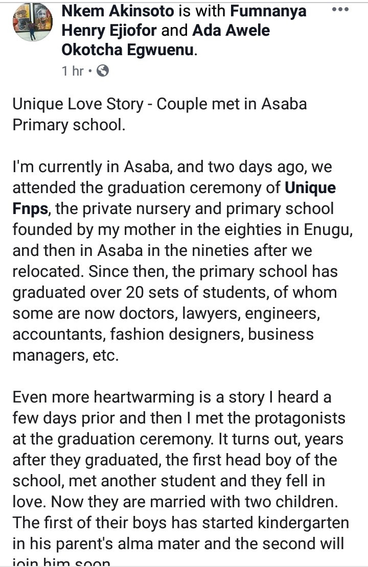Couple who met in primary school got married and have a kid who now attends same school