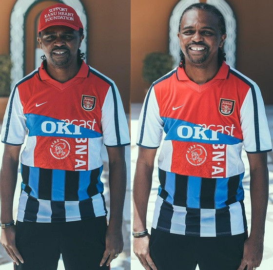 Football legend, Nwankwo Kanu shows off special jersey featuring all the clubs he played for (Photos)