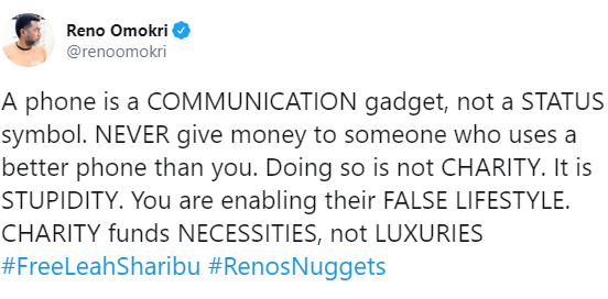 Never give money to someone who uses better phone than you ? Reno Omokri