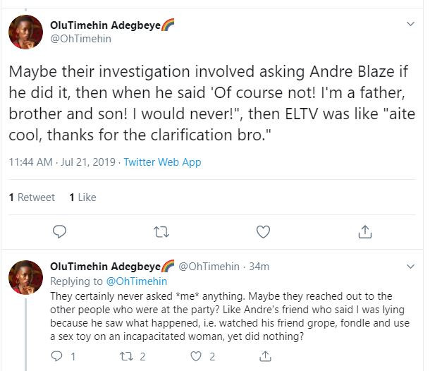 One year after calling out Andre Blaze, writer Olutimehin accuses BBNaija and Ebonylife TV of enabling sexual assault