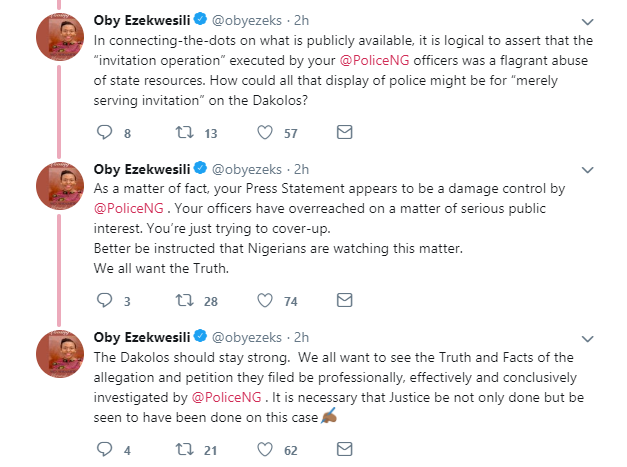 COZA: Oby Ezekwesili queries Police over motive of invitation to Timi and Busola Dakolo