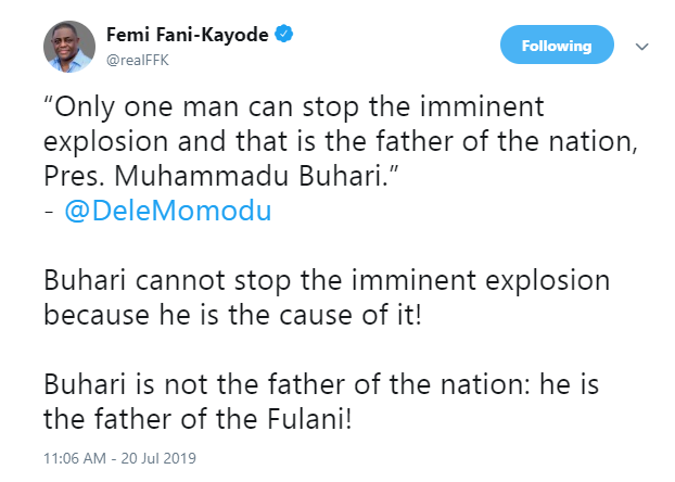 Femi Fani-Kayode clashes with Dele Momodu over President Buhari being the