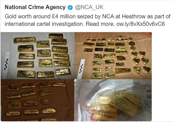 (Photo) $5M worth of gold seized by UK police at London
