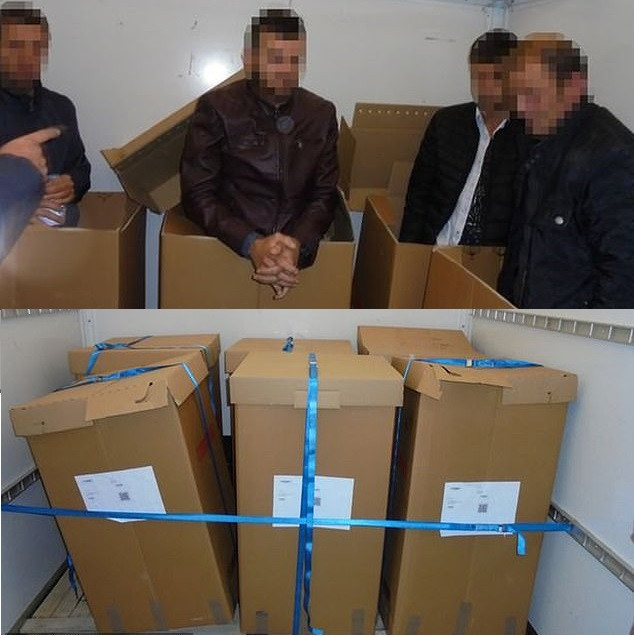 Four Albanian migrants found taped inside cardboard boxes in a van after paying 700 Euros each to be smuggled into UK (Photos)