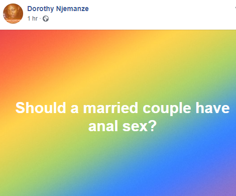 Should a married couple have anal sex?- activist Dorothy Njemanze asks