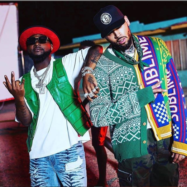 Chris Brown and Davido pictured together as they prepare to release a new?music