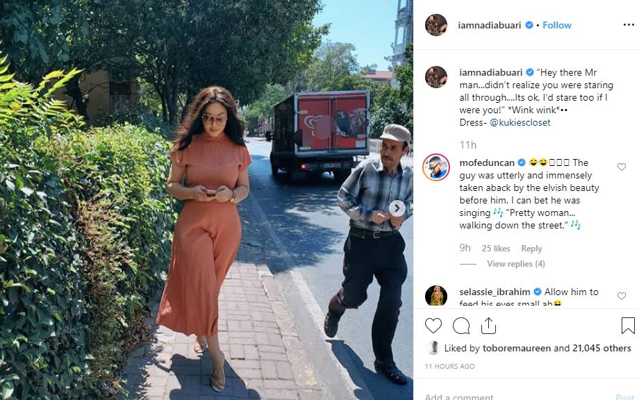 Nadia Buari shares photos of a photobomber staring at her