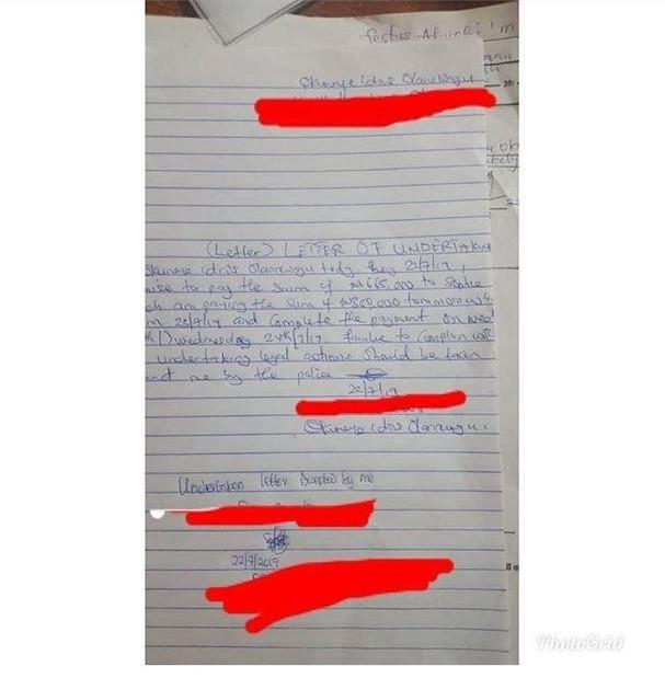 Bobrisky's Letter of Undertaking