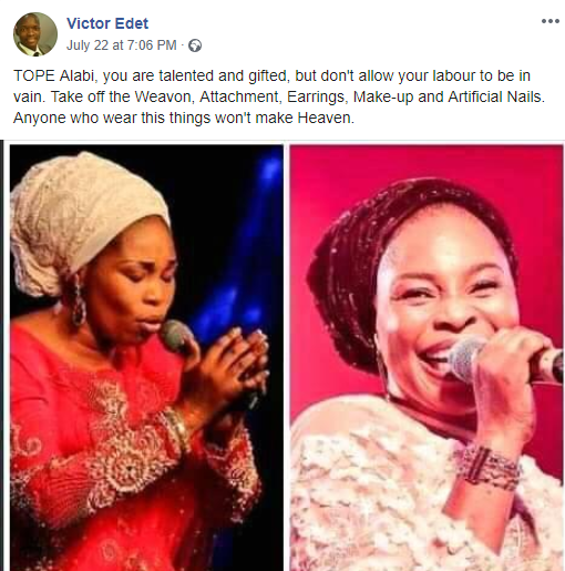 Evangelist Victor Edet warns Tope Alabi to stop wearing weavons, artificial nails, makeup, earrings or she won