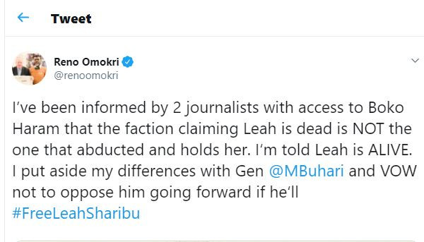 I?ve been informed by two?journalists with access to Boko Haram that Leah Sharibu is alive - Reno Omokri