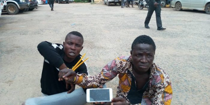 Photos: Two suspected phone thieves arrested in Lagos