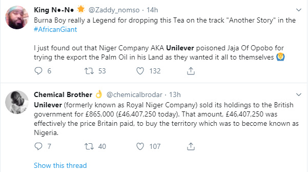 Did Royal Niger Company/Unilever sell Nigeria to Britain just like Burna Boy said in his African Giant Album?