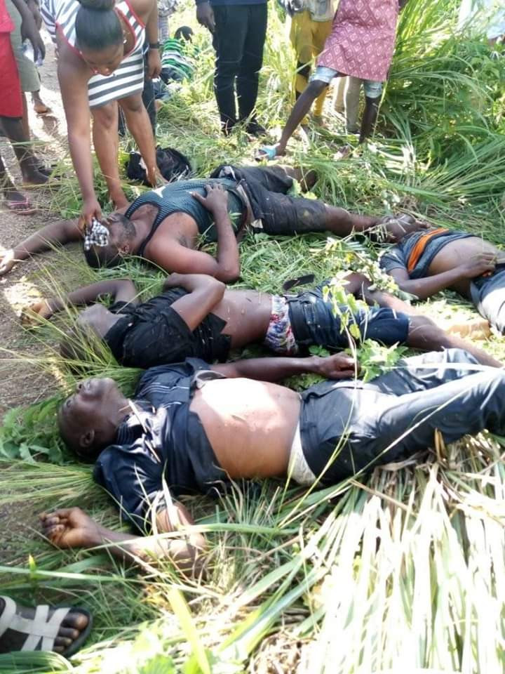 Graphic Photos: Five dead as vehicle plunges into river in Benue State