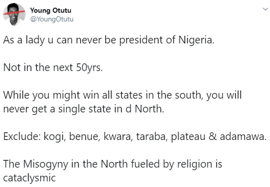 A lady can never be president of Nigeria- journalist Otutu says, gives reason