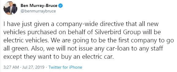Ben Murray-Bruce announces that his Silverbird Group is going green, and won