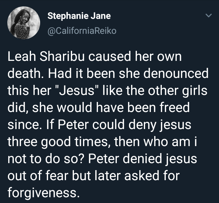 Twitter user says Leah Sharibu is responsible for her alleged death