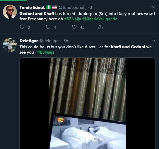 Nigerians react as BBNaija housemates, Gedoni and Khafi have sex again (Watch Video)