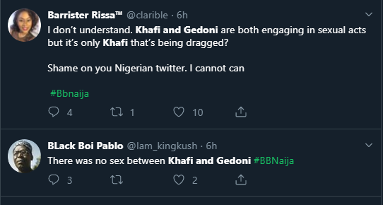 Nigerians react as BBNaija housemates, Gedoni and Khafi have sex again (Watch Video)