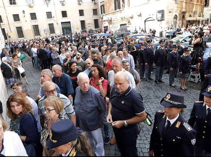 Hundreds of people attend?funeral of?Italian cop who was stabbed to death by two American teenagers barely 40-days after he got married