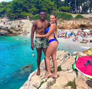 Nigerian footballer, Obinna Nsofor and his Serbian partner Anastasija vacation in Croatia (photos)