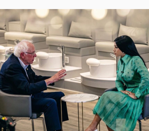 Cardi B sits with US presidential aspirant Bernie Sanders to discuss topical issues