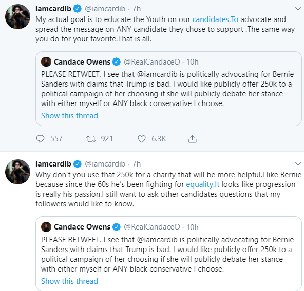 Candace Owens offers Cardi B $250,000 to debate after she was pictured meeting with Bernice Sanders; Cardi responds