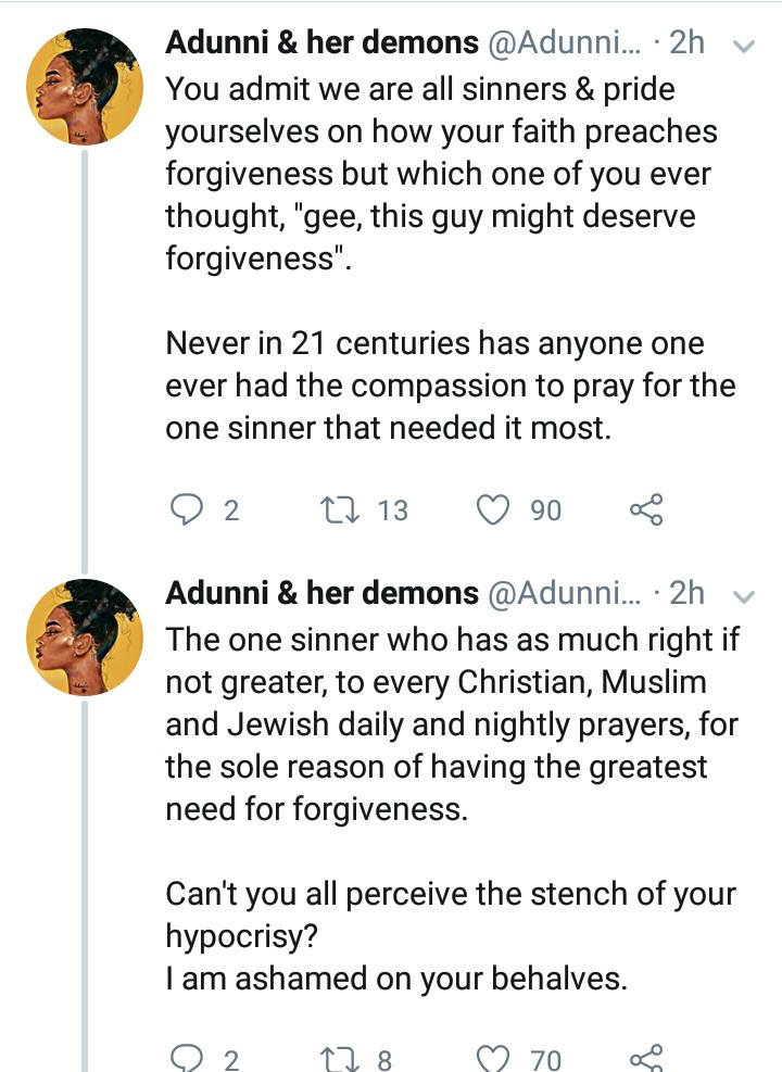 Nigerian woman accuses Christians of having an unforgiving spirit for not kneeling to pray for