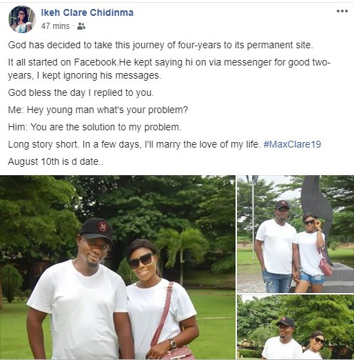 """God bless the day I replied you"" woman set to wed man whose Facebook messages she ignored for 2 years"