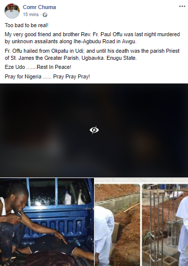 Photos: Reverend Father murdered by unknown persons in Enugu