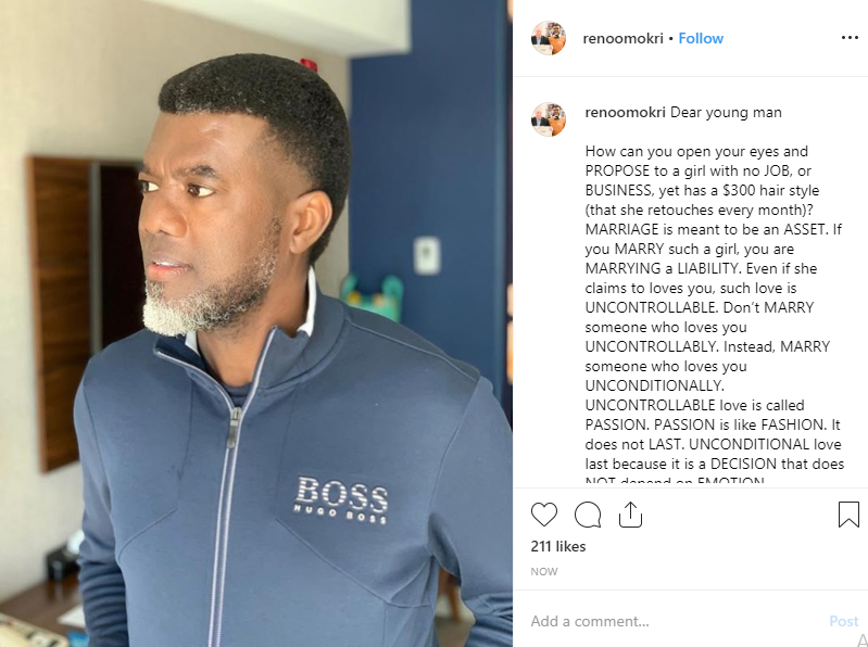 Marrying an unemployed lady with $300 (N108,000) hairstyle is marrying a liability - Reno Omokri