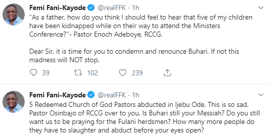 Abduction: It is time for you to condemn and denounce Buhari- FFK tells Pastor Adeboye