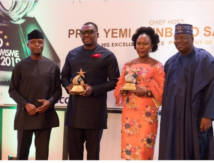 Tara Fela Durotoye is honored by the Vice president of Nigeria and Senate President at the 2nd National MSME Awards 2019