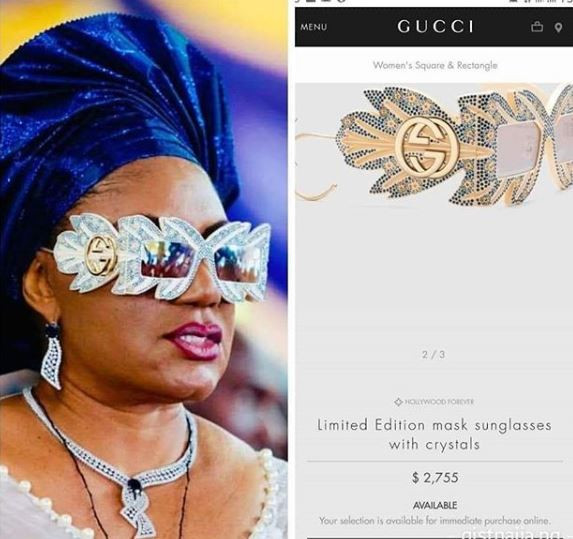 a1fce41e4d6e Update: The stylish sunglasses rocked by Anambra first lady, Ebele Obiano  is N1m limited edition Gucci designer