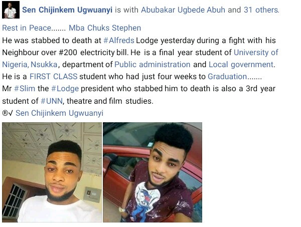 Photos: Brilliant final year UNN student stabbed to death by neighbour over N200 electricity bill 4 weeks to his graduation