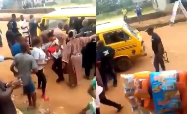 Ikorodu residents stop SARS officers from arresting young man they accused of being a yahoo boy (video)