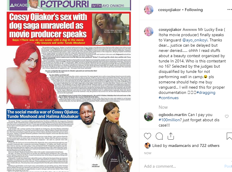 Cossy Ojiakor reacts as producer of alleged