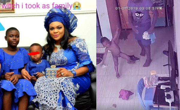 Nigerian lady shares CCTV footages of her househelp assaulting her 2-year-old son and giving him faeces to eat