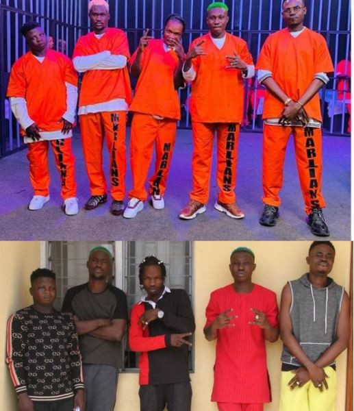 Rocking prison uniforms, Naira Marley, Zlatan and Rahmah Jago recreate their famous EFCC