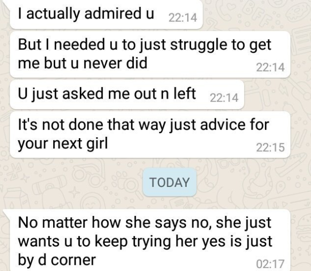 Man shares message an old crush sent to him 14 months after refusing his advances