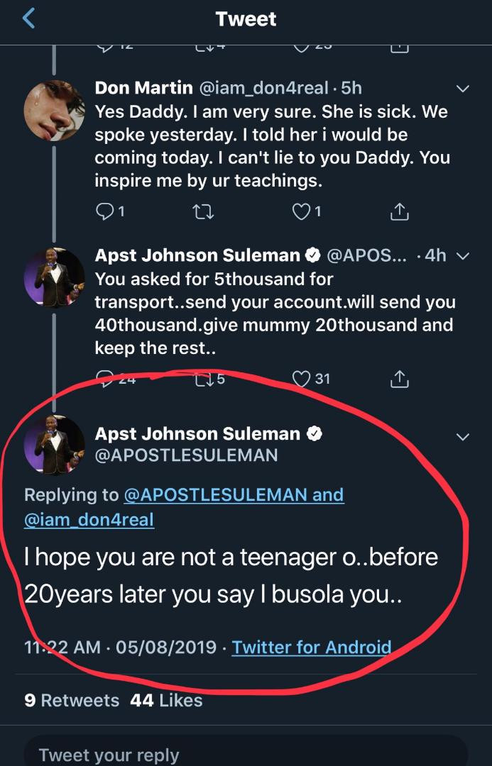 Rape allegation: Apostle Suleiman mocks Busola Dakolo while offering help to Twitter user