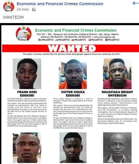 EFCC declares six men wanted for various financial crimes, jumping bail (photos)