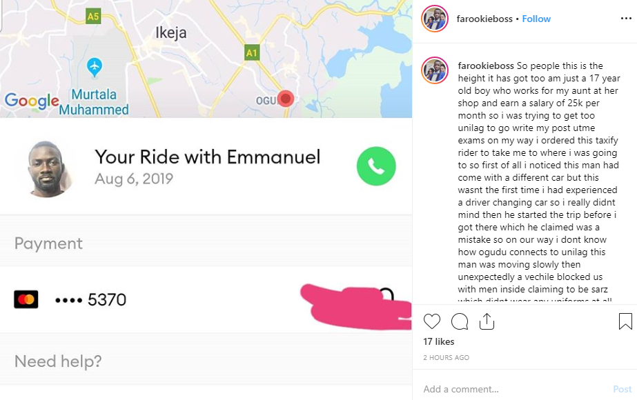 UNILAG Post-UTME candidate accuses Taxify driver of allegedly diverting trip and taking him to SARS operatives for extortion
