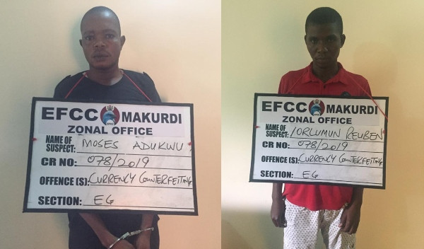 Two currency counterfeiters arrested by EFCC