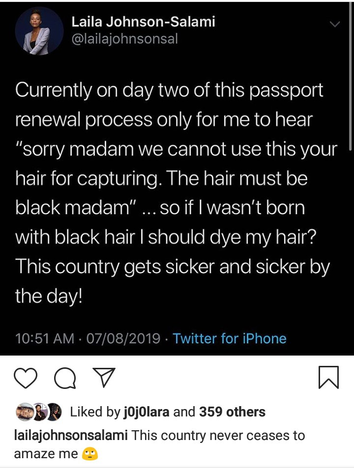 Laila Johnson-Salami says she was asked to dye her naturally blonde hair before being allowed to renew passport