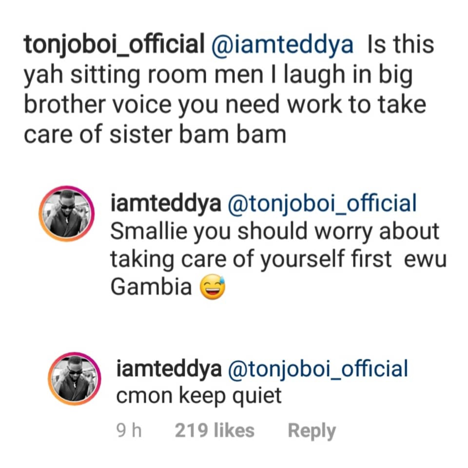Teddy A hits back at Bam Bam