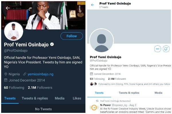 Twitter unverifies VP Yemi Osinbajo?s account, deletes 2,399 tweets