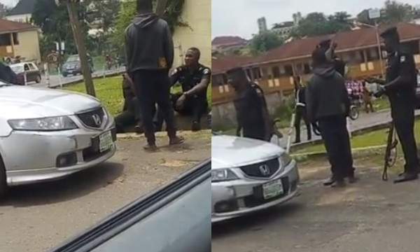University of Ibadan student claims he was arrested by Oyo policemen for not registering his business with CAC (video)