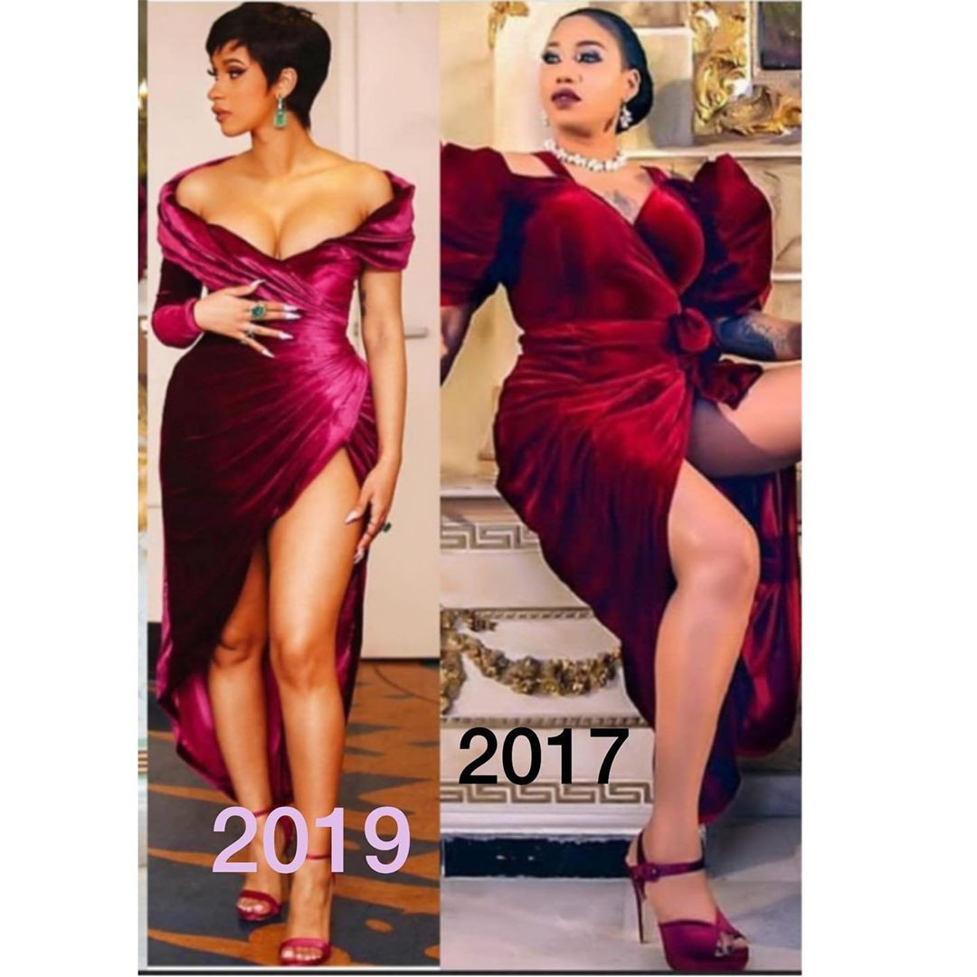 Coincidence or Nah: Toyin Lawani suggests Cardi B may be jacking her style (Photos)